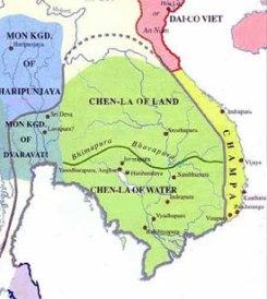 Chenla Kingdom of Cambodia (green), 7th century