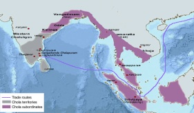 Chola Empire of Tamil Nadu (gray) and vassals (purple)
