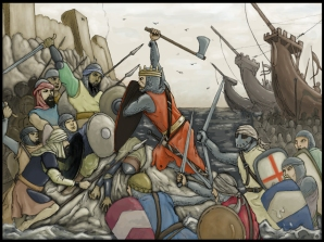 Richard I of England's Crusader victory at the 3rd Crusade Battle of Jaffa over Saladin's army, 1192