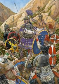 Death of the last Ostrogoth king Teia at the Battle of Mons Lactarius, 553