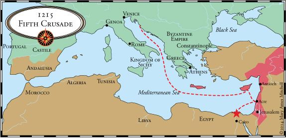 Map of the 5th Crusade (1217-1221)
