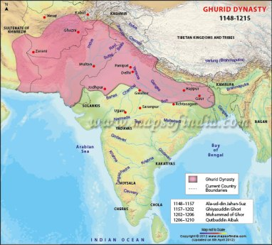 Map of the Ghurid Empire of India (pink), late 12th century