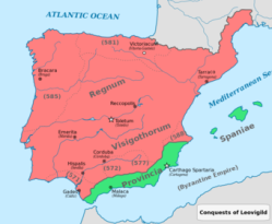 Visigoth Kingdom of Spain (red) in 585 with Byzantine territory (green)