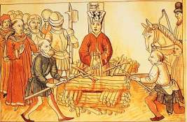 Jan Hus burned at the stake by order of the 3 popes in conflict, 1415