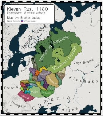 Map of the dissolution of the Kievan Rus' Empire in Russia, 1180
