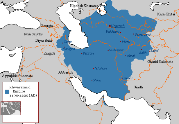 Map of the Khwarezmian Empire (blue), 1190s