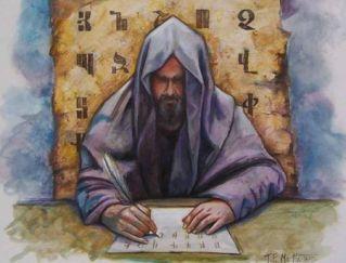 Mesrop Mashtots writes the letters of the Armenian alphabet, 405