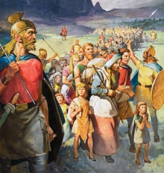 Fritigern leads the Visigoths into the Roman Empire