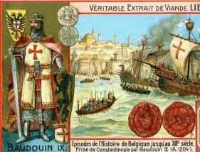 Venetian fleet arrives outside Constantinople, 1203 with Count Baldwin IX of Flanders (left)