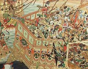 Song against Jurchen fleet at the Battle of Caishi, 1161