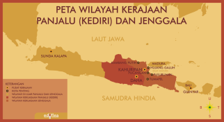 Map of the Kingdom of Kediri in Java (red), 12th century