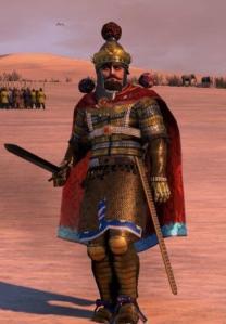 Sassanid king Khosrow II in battle gear