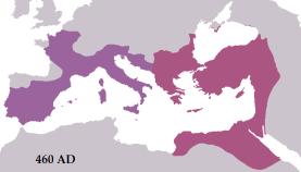 The Western Roman Empire (purple) under Majorian in 460