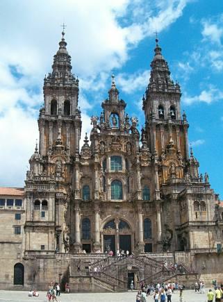 Cathedral of Santiago de Compostela, Spain, began construction in 1075