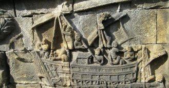 Relief depicting the maritime Srivijaya Empire of Sumatra