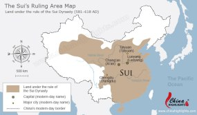China reunited under the Sui Dynasty, 589