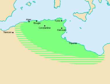 Map of the Zirid Dynasty of 11th century North Africa