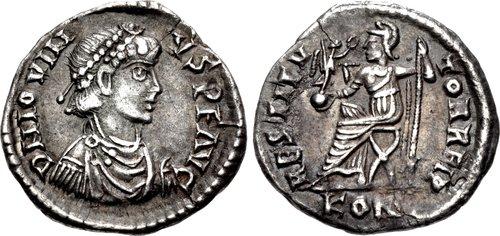 Coin of usurper emperor Jovinus in Gaul (r. 411-413)