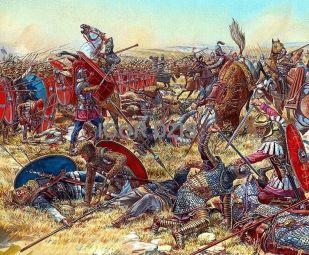 Romans against Parthians at the Battle of Nisibis, 217