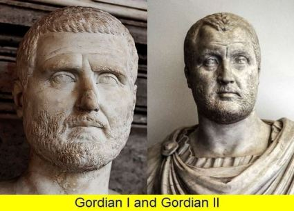 Gordian I (left) and son Gordian II (right), Roman emperors in Carthage, 238