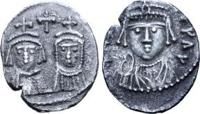 Coin of Emperor Maurice (left) with his wife Constantia and son Theodosius (right)