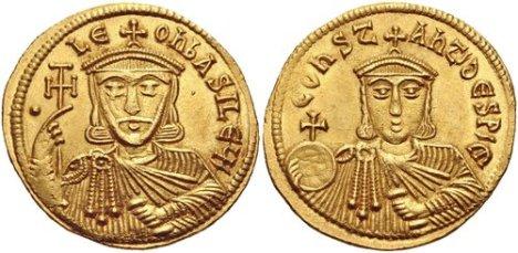 Coin of Emperor Leo V (left) and his son co-emperor Sabbatios-Constantine (right)