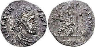 Coin of Roman usurper emperor Maximus of Hispania (r. 409-417)