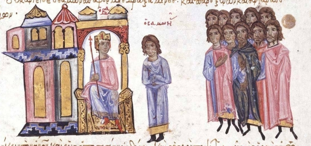 Leo VI (left) and the general Andronikos Doukas (right)