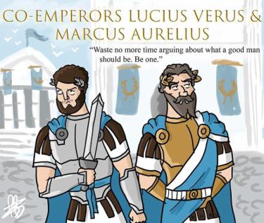 Co-emperors Lucius Verus (left) and Marcus Aurelius (right), r. 161-169