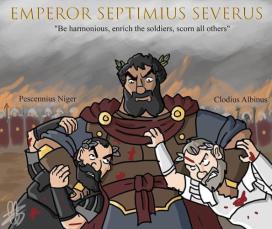 Roman emperor Septimius Severus (r. 193-211) with usurper emperors Pescennius Niger (left) and Clodius Albinus (right)