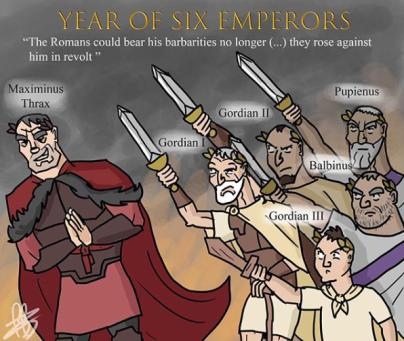 238, year of the 6 emperors- Maximinus Thrax, Gordian I and II, Pupienus and Balbinus, and Gordian III