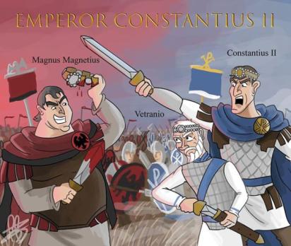 Roman civil war between Magnentius and Constantius II with Vetranio, 350-353