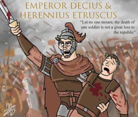 Emperor Decius and his son co-emperor Herennius Etruscus killed in battle, 251