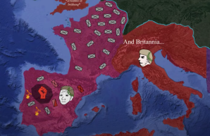 The Western Empire under Honorius (red) and under Constantine III (pink)