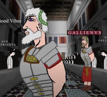 Emperor Valerian (left) and son Emperor Gallienus (right) in 253