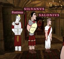 Co-emperor Saloninus (left) with generals Silvanus and Postumus