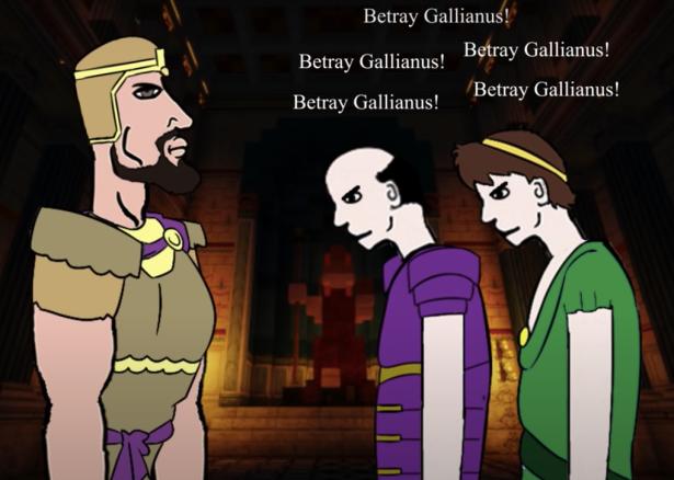 Odaenathus of Palmyra confronts Ballista (in purple) and Quietus (in green), 260