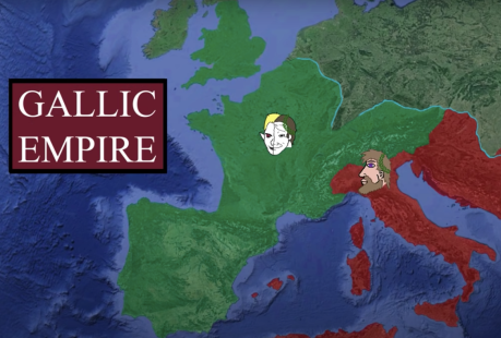 Gallic Empire (green) declared independent from Rome (red) in 260