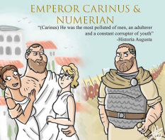 Sons of Carus co-emperors Carinus, r. 283-285 (left) and Numerian, r. 283-284 (right)