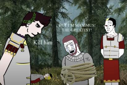 Theodosius I (left) executes Magnus Maximus (center), 388