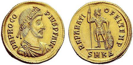 Coin of the usurper emperor Procopius (r. 365-366), cousin of Julian