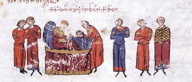 Theophobos' head brought to Theophilos at his deathbed, 842