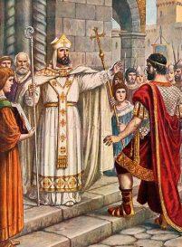St. Ambrose bishop of Milan (left) confronts Theodosius I