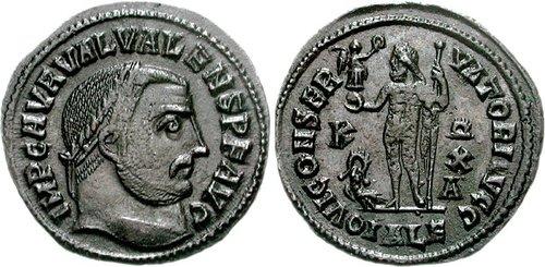 Coin of Valerius Valens, co-emperor of Licinius I (316-317)