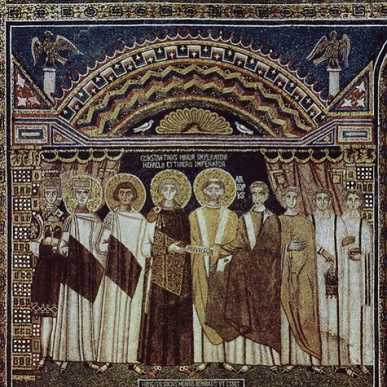 Byzantine Emperor Constantine IV (652-658) and his retinue