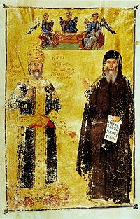 John VI as an emperor (left) and as a monk after 1354 (right)