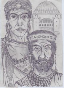 The last Byzantine emperor Constantine XI and the first Constantine I (behind)