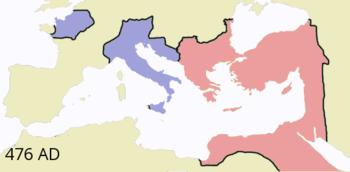 The Roman Empire in 476, Western Empire (blue), Byzantium (red)