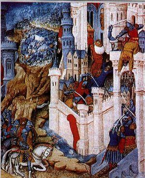 Alaric's sack of Rome in 410 medieval illustration