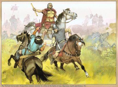 Aetius in battle using Huns against Burgundians
